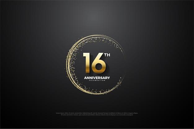 16º aniversário com número cercado por glitter dourado