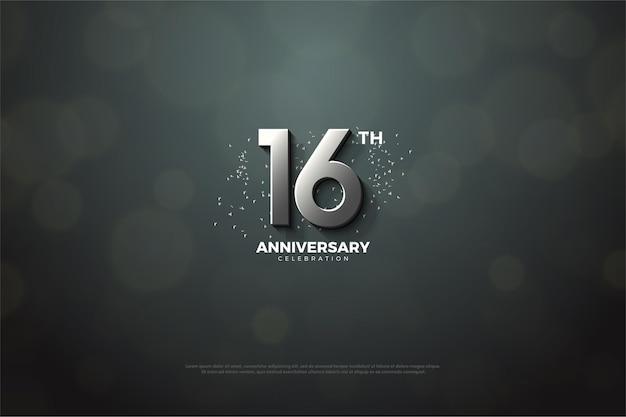 16º aniversário com número de prata 3d