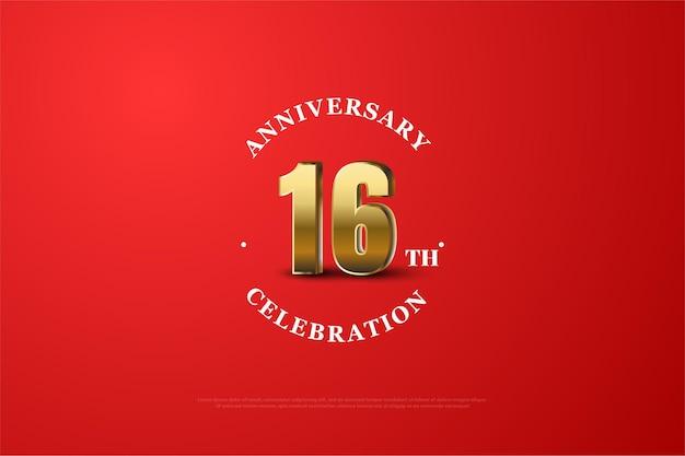 16º aniversário com número dourado sombreado