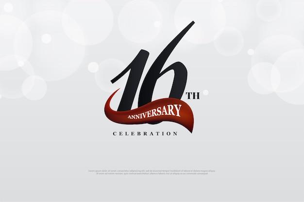 16º aniversário com número e fitas vermelhas curvas