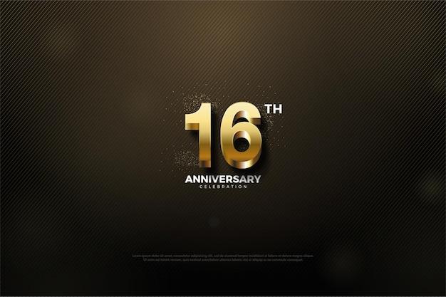 16º aniversário com número e pontos dourados brilhantes