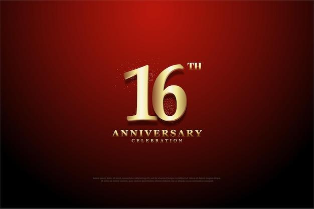 16º aniversário com número esboçado