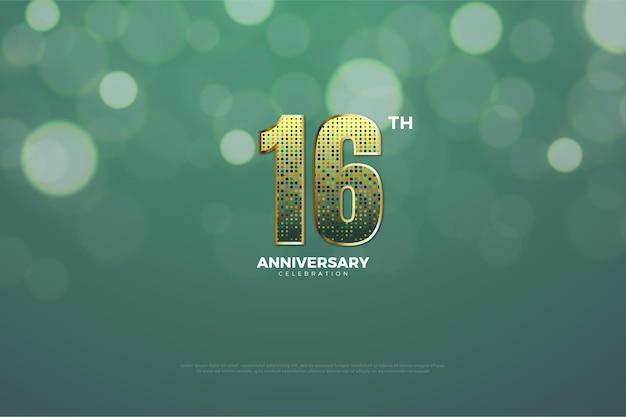 16º aniversário com número glitter