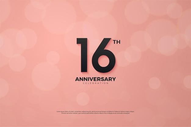 16º aniversário com número rosa