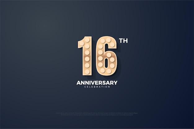 16º aniversário com número texturizado