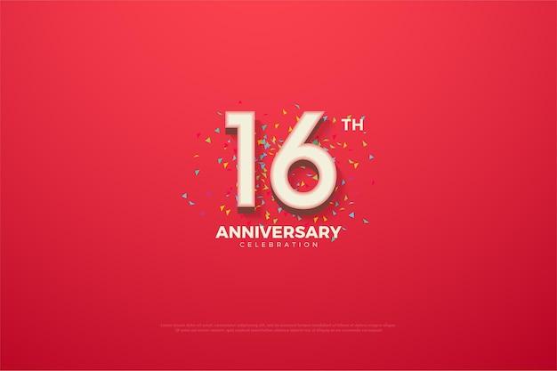 16º aniversário com números coloridos e rabiscos