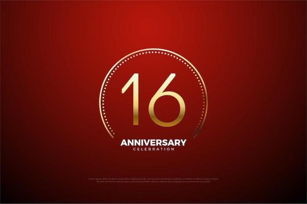 16º aniversário com pontos e listras dourados circulares
