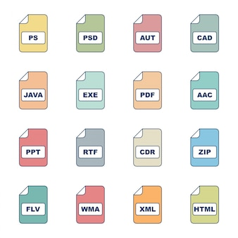 16 conjunto de ícones de formatos de arquivo para uso pessoal e comercial