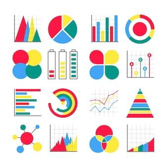 16 ícones de visualização de infográficos de design moderno estilo plano sinais definir ilustração vetorial