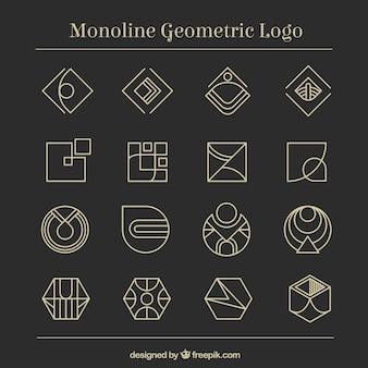 16 logotipos de monolina geométricas escuras