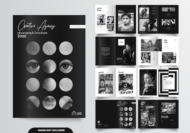16 páginas de design de brochura preto minimalista