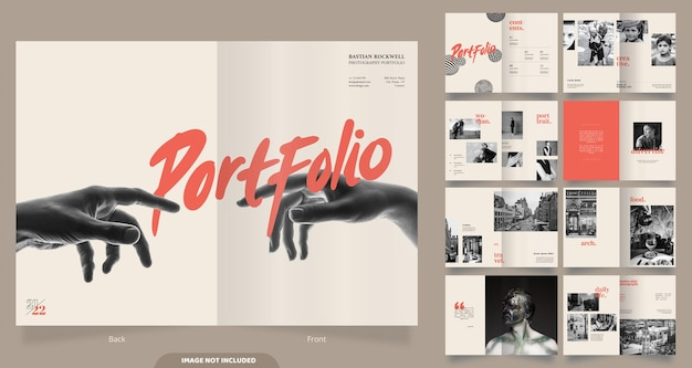 16 páginas de design de portfólio de fotografia minimalista