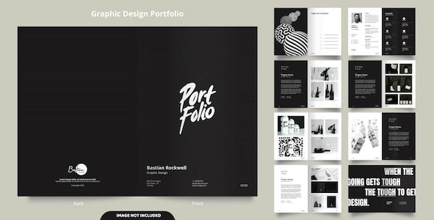 16 páginas de design minimalista de portfólio preto