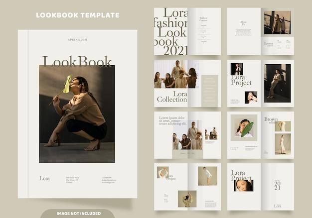 16 páginas de modelo de lookbook de moda