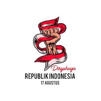 17 de agosto, feliz dia da independência da indonésia, estilo de linha desenhada à mão com cor digital, ilustração