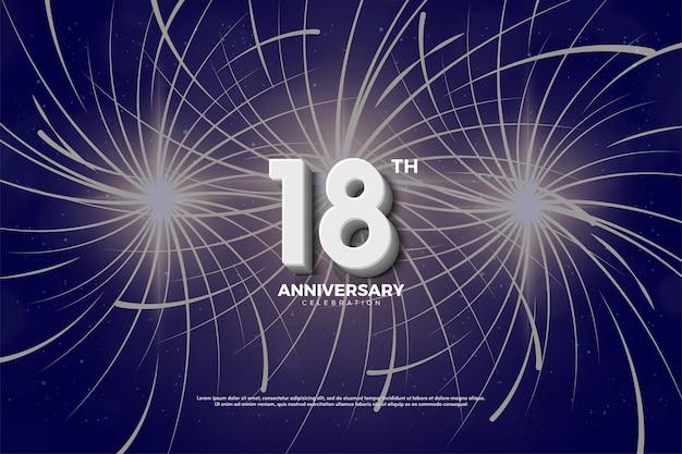 18º aniversário com fogos de artifício atrás dos números