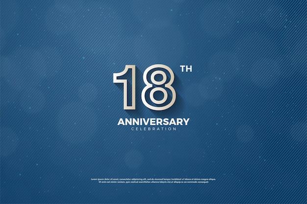 18º aniversário com ilustração de contorno de número marrom