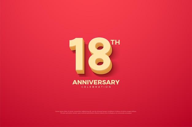 18º aniversário com ilustração de números animados