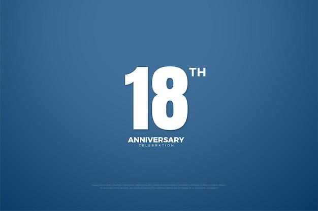 18º aniversário com número de design plano