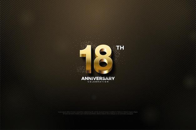 18º aniversário com números dourados brilhantes