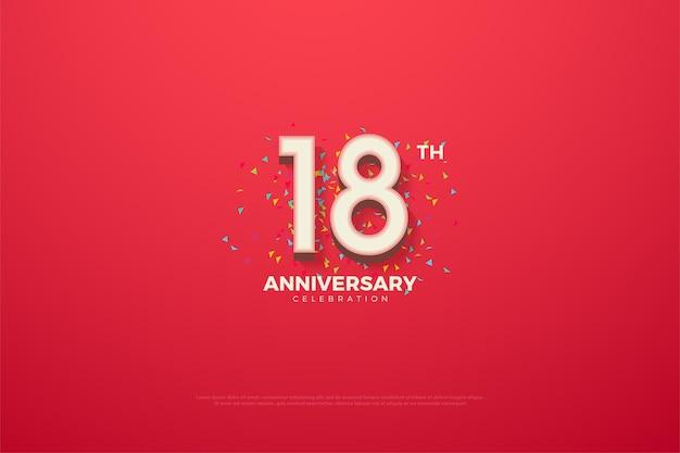 18º aniversário com números e rabiscos coloridos