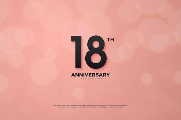 18º aniversário com números em fundo rosa