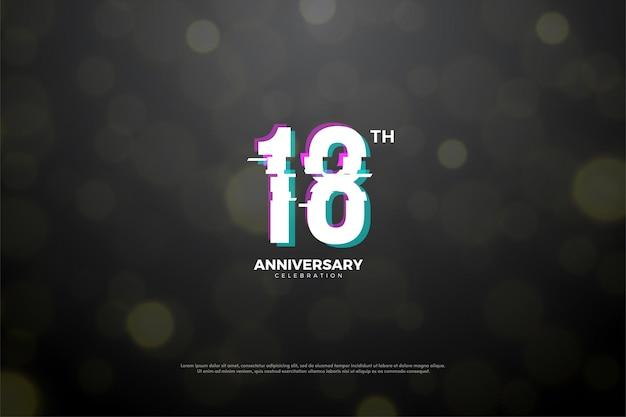 18º aniversário com números em paz