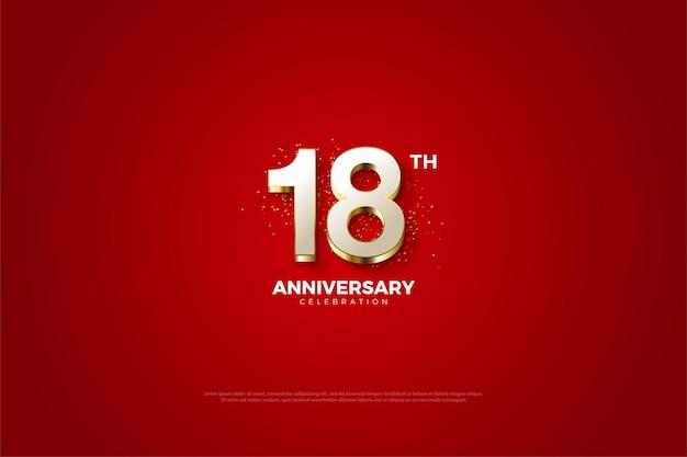 18º aniversário com números luxuosos folheados a ouro