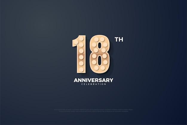 18º aniversário com números texturizados