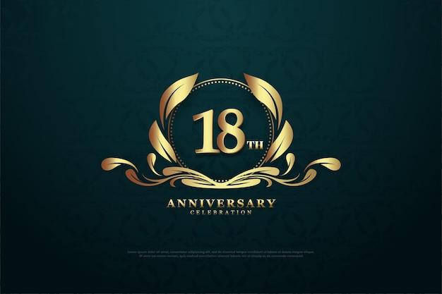 18º aniversário com um número charmoso no meio do símbolo