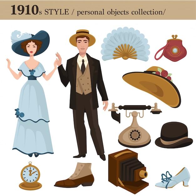 1910 moda estilo homem e mulher objetos pessoais