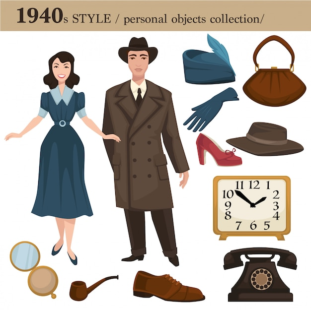 1940 moda estilo homem e mulher objetos pessoais