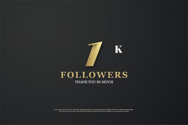 1k de fundo do seguidor com número dourado em um fundo preto sólido.