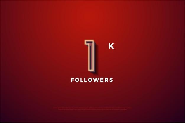 1k de fundo do seguidor com um número com borda branca suave.