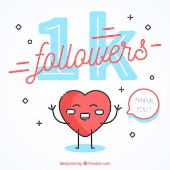 1k fundo do seguidor com coração feliz