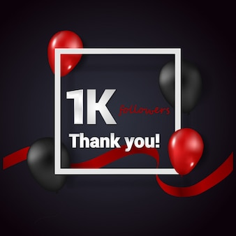 1k obrigado follower vector background para redes sociais