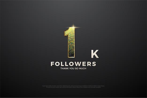 1k seguidor de fundo com glitter que forma belo número.
