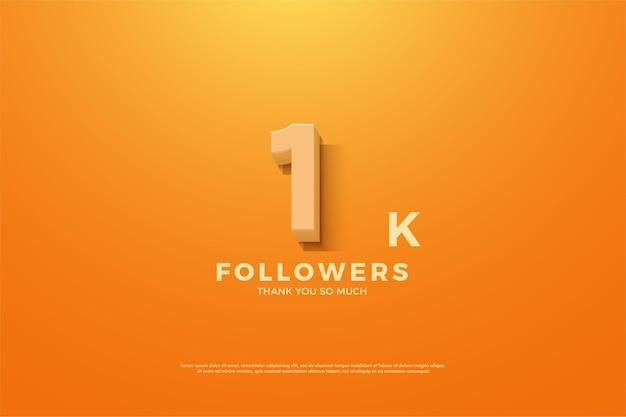 1k seguidor de fundo com ilustração de número e fundo laranja.