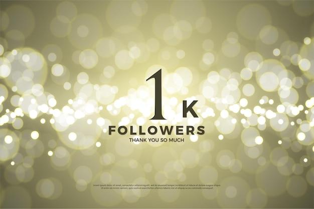 1k seguidor de fundo usando folha de ouro brilhante.