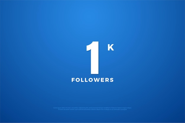 1k seguidores com fonte simples e design de número.