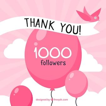 1k seguidores obrigado fundo com balões e pássaros