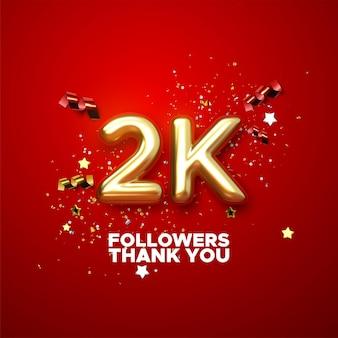 2.000 seguidores assinam com o símbolo dourado e confetes do design do banner de mídia social