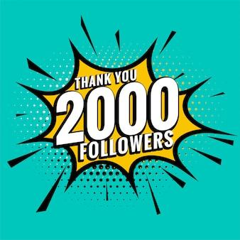 2.000 seguidores de mídia social, obrigado postar em estilo de quadrinhos
