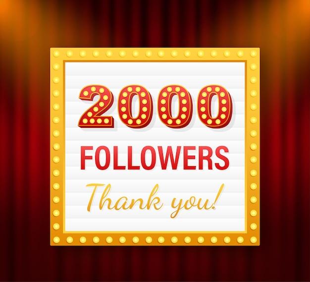 2.000 seguidores, obrigado, postagens em sites sociais. obrigado cartão de felicitações de seguidores. ilustração em vetor das ações.