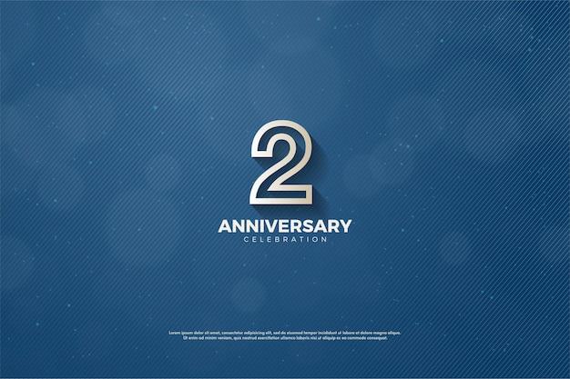 2º aniversário com número delineado em marrom sobre fundo azul marinho.