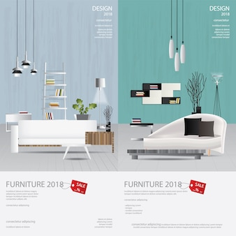 2 banner vertical móveis venda design modelo ilustração vetorial