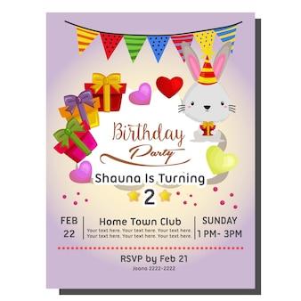 2º cartão de convite de festa de aniversário com coelho e presente