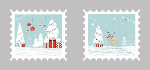 2 cartões de presente de natal com presentes, árvore de natal e neve. modelo editável fácil. ilustração bonita para cartão, cartaz, t-shirt, banner.