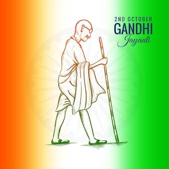 2 de outubro gandhi jayanti pelo pôster criativo comemorado
