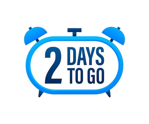 2 dias para ir. temporizador de contagem regressiva. ícone do relógio. ícone de tempo. venda de tempo de contagem. ilustração em vetor das ações.